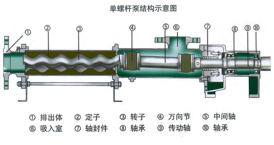 單螺桿泵結構示意圖