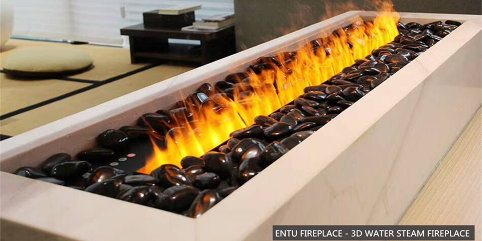 3D Water Steam Electric Fireplace With Stainless Steel Surface