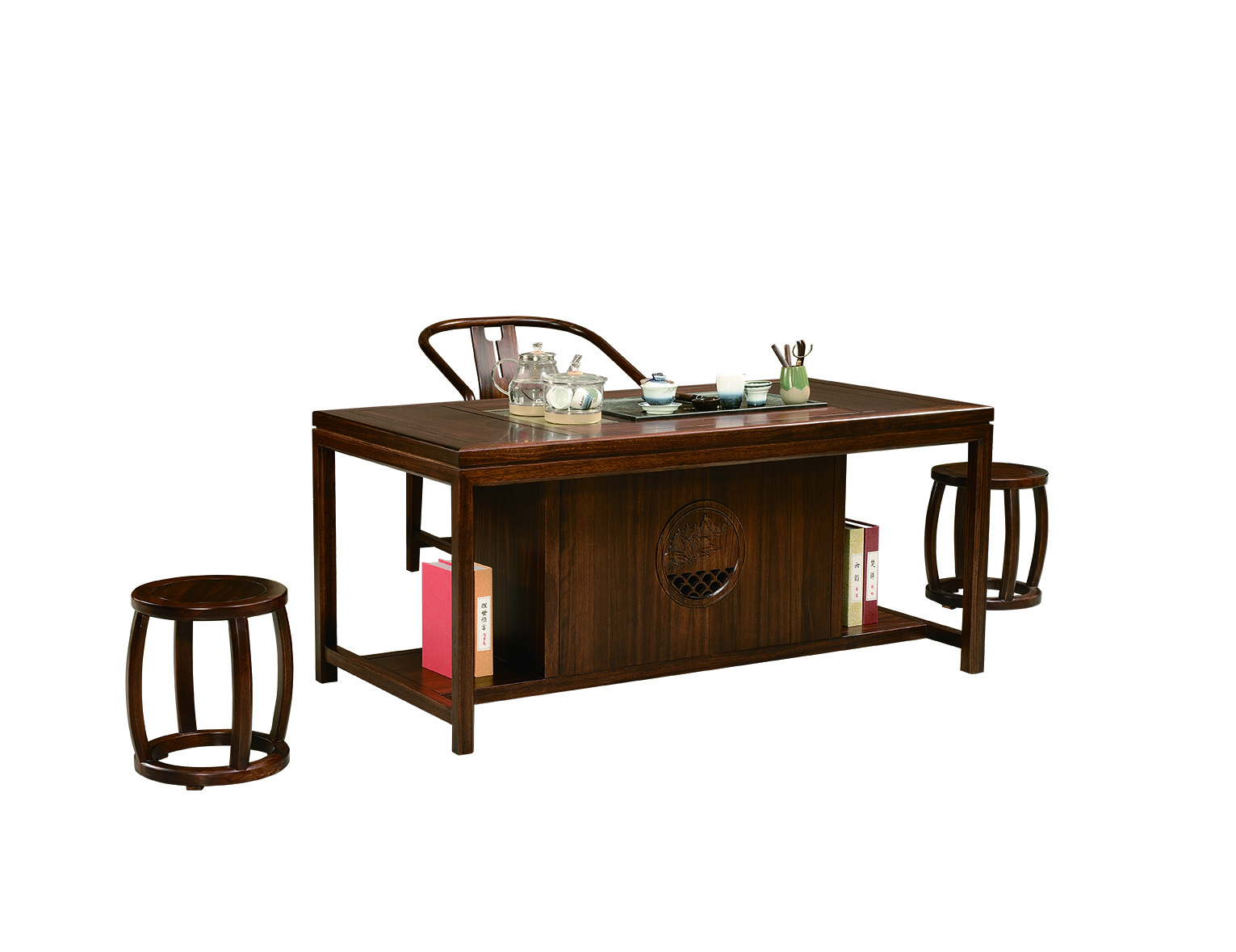 和熙中式乌金木茶室博古架