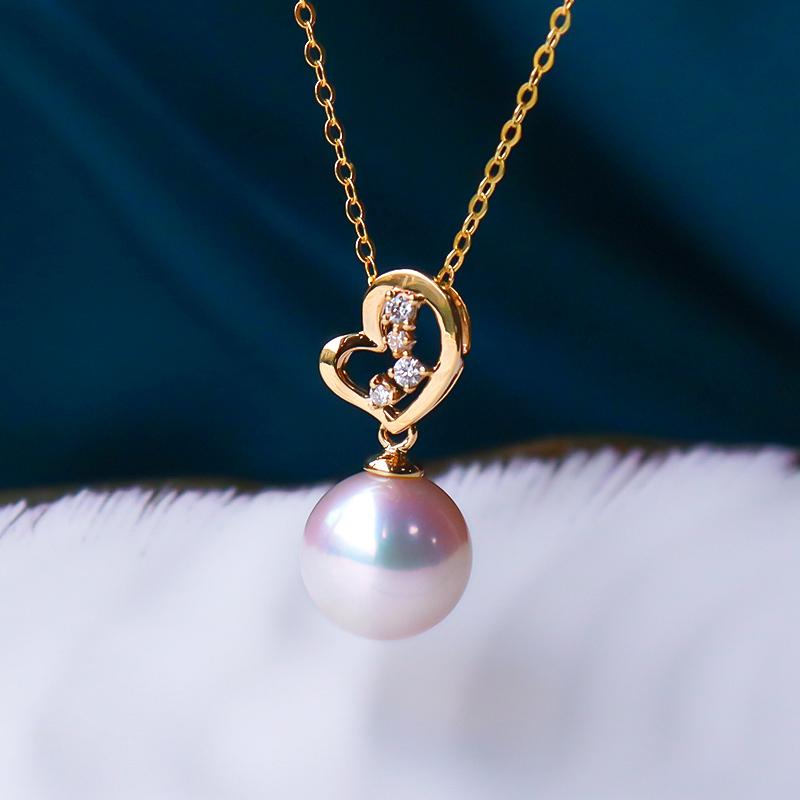 恒興珠寶 天然海水單顆18K金鉆石正圓強光日本akoya珍珠吊墜項鏈