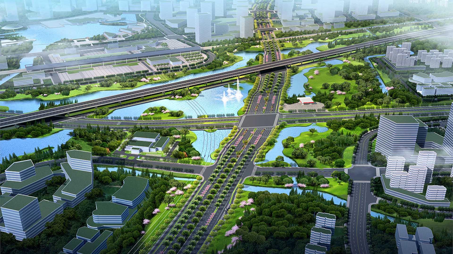 2019--迎宾大道改造提升工程(沪杭高速以南段)一标段     鸟瞰图