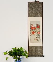 14-4-04牡丹双鸽(織錦畫)