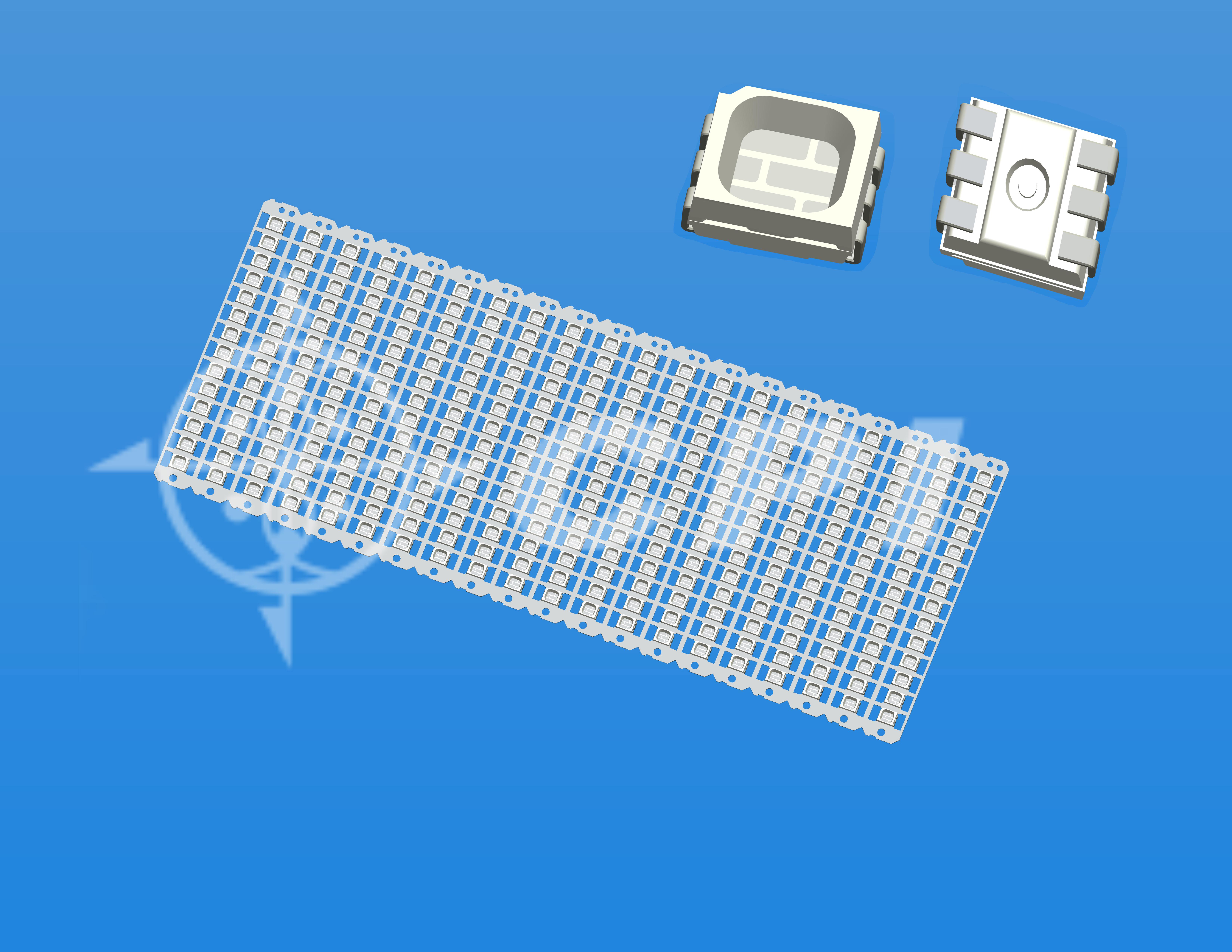 LED3528全彩(14排)一字型六腳正向晶片支架白膠方杯杯深0.84總高1.8   (14X20)     (P03331A)