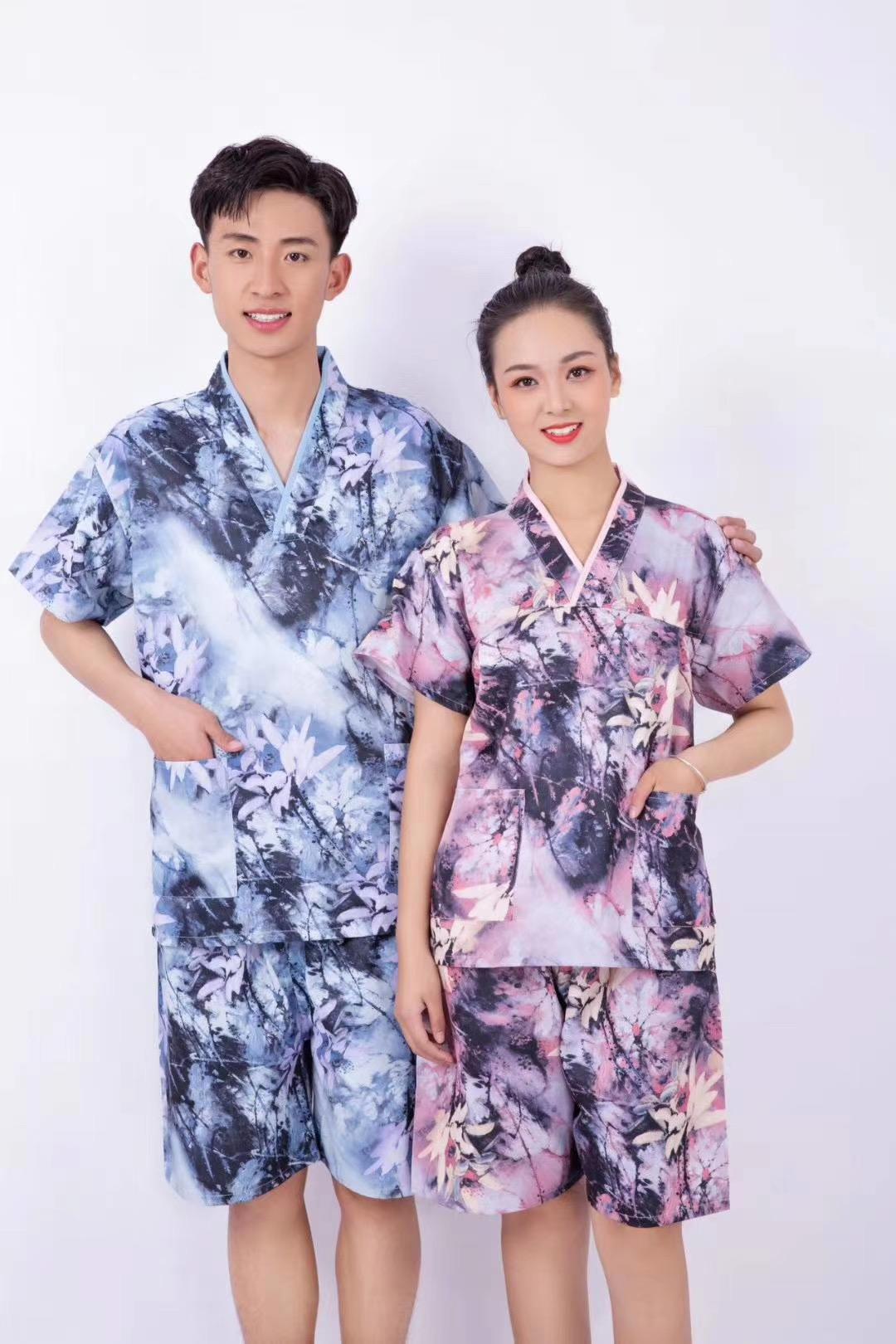 君芝友酒店用品割絨浴袍 酒店用彩色印花睡衣 五星級酒店全棉浴服產品展示