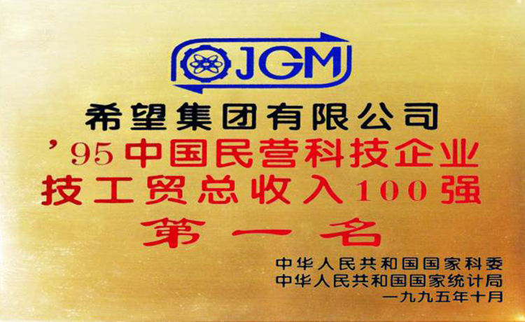 Ranked No. 1 among the Top 100 Chinese Private Technology Enterprises in Technology, Industry and Trade Revenue