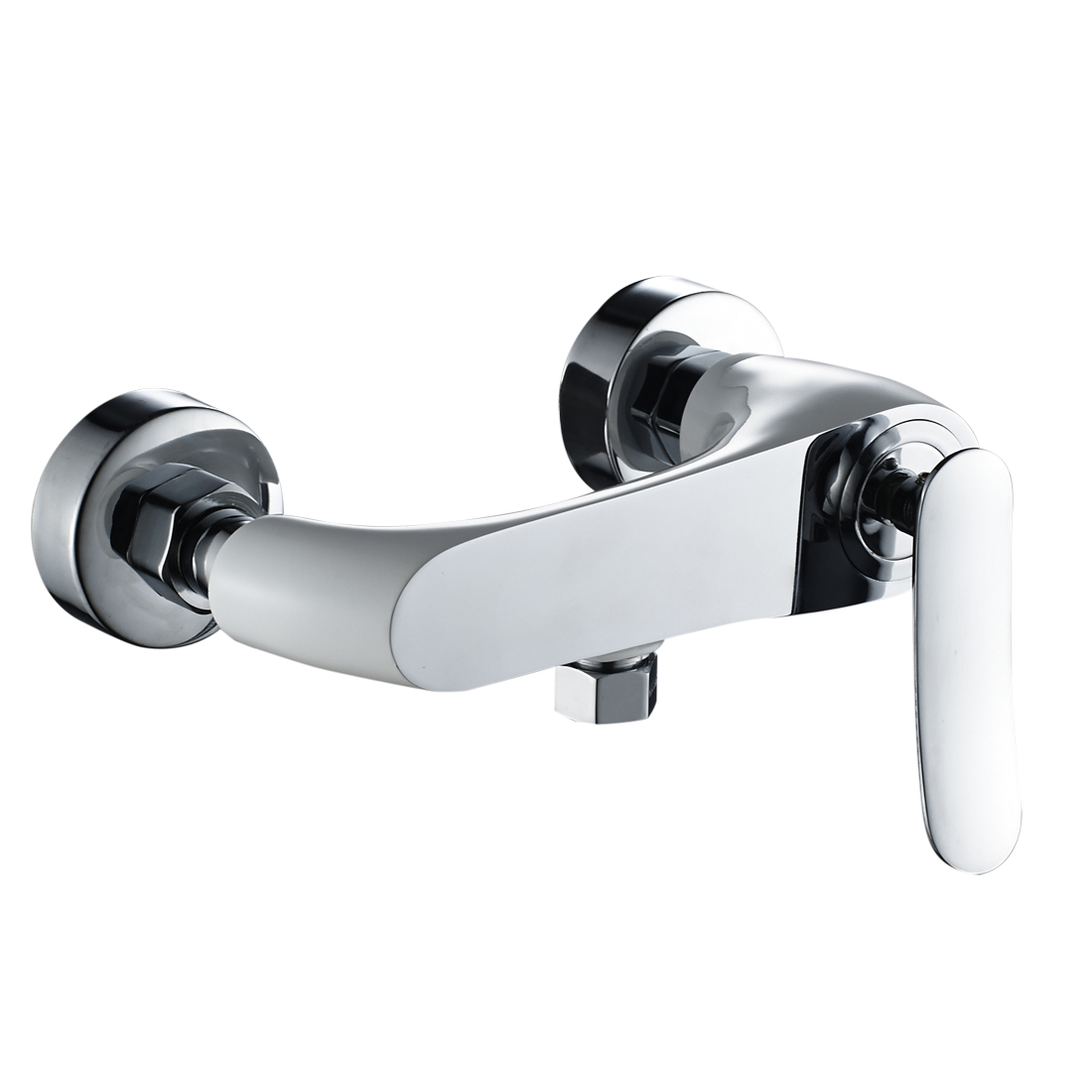 Shower Mixer Valve,Wall Mounted Single Lever Manual Exposed Shower Hot/Cold Valve Tap Faucet,White with Chrome Finish