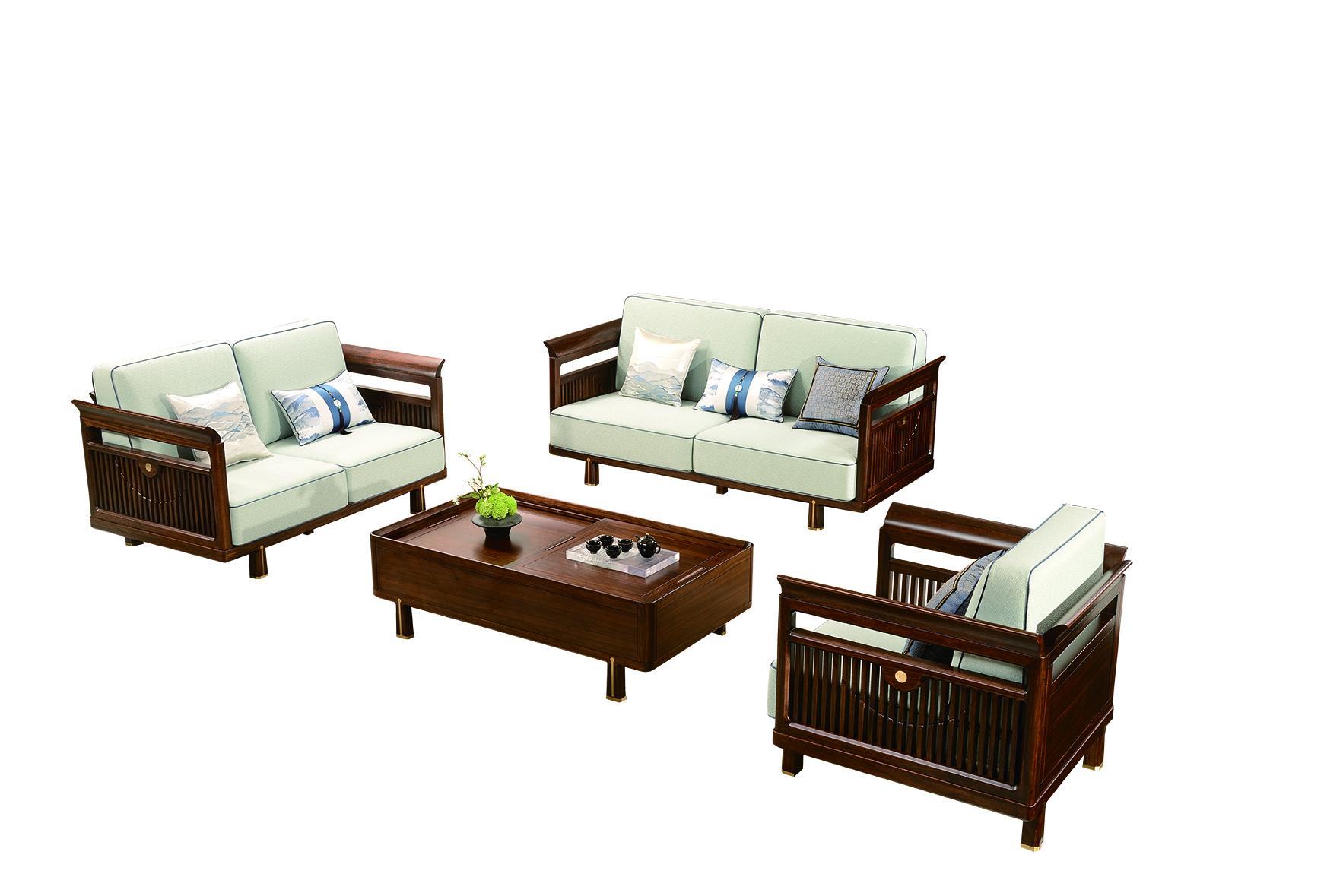 和熙乌金木客厅家具沙发
