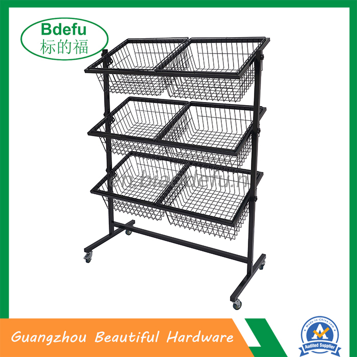 Free moving 6 baskets display stand