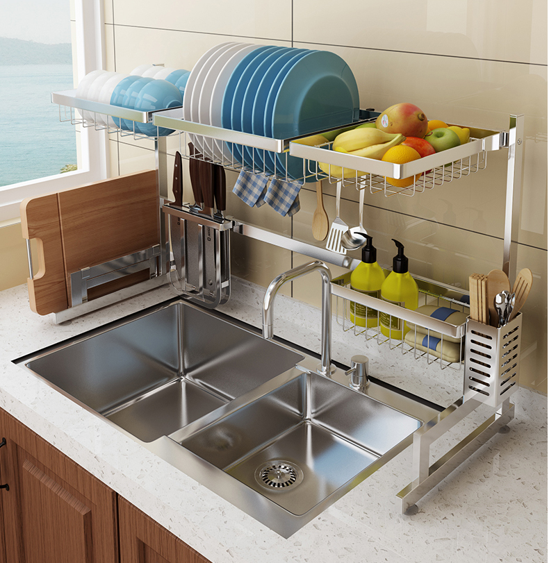 Brushed silver 2 tier Stainless steel dish rack over sink