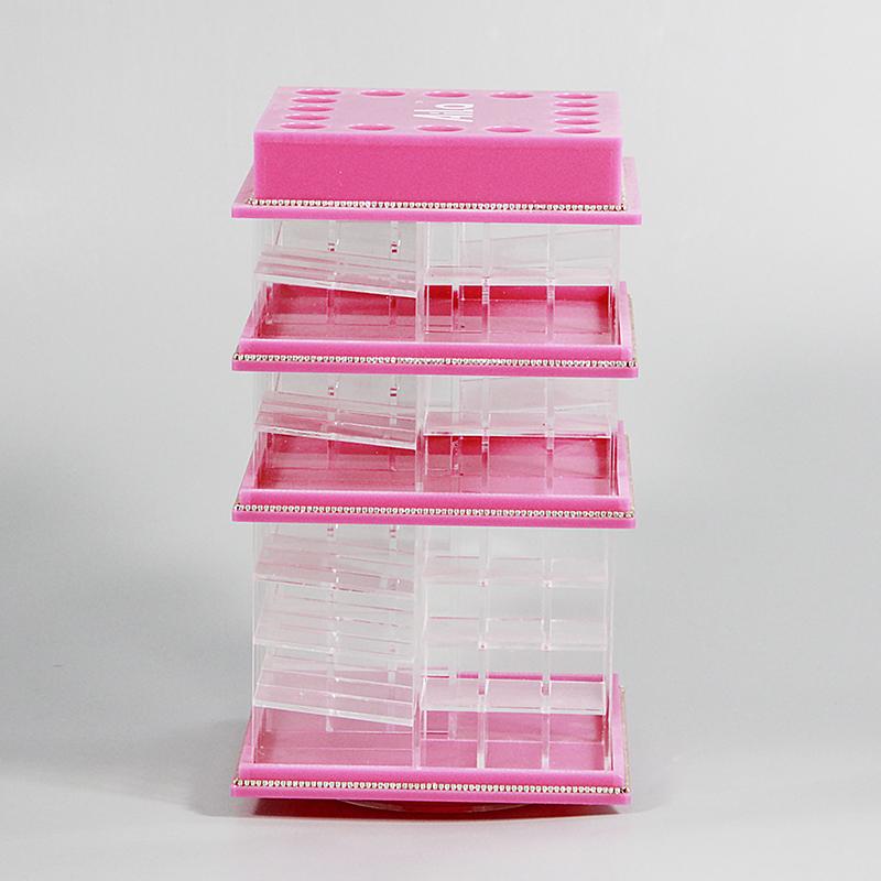 定制亞克力制品旋轉粉色收納化妝品