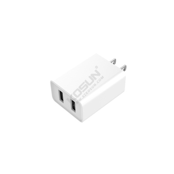 5V/3.4A Dual USB Fixed Plug Wall Charger