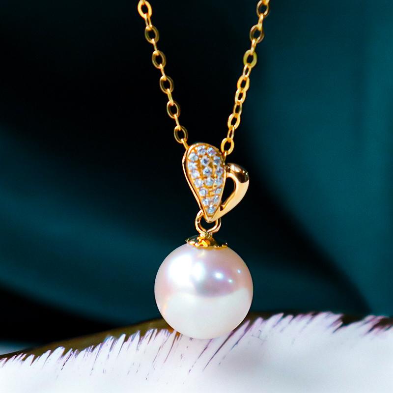 恒興珠寶 18K金單顆天然海水日本akoya一顆珍珠吊墜項鏈鎖骨鏈女