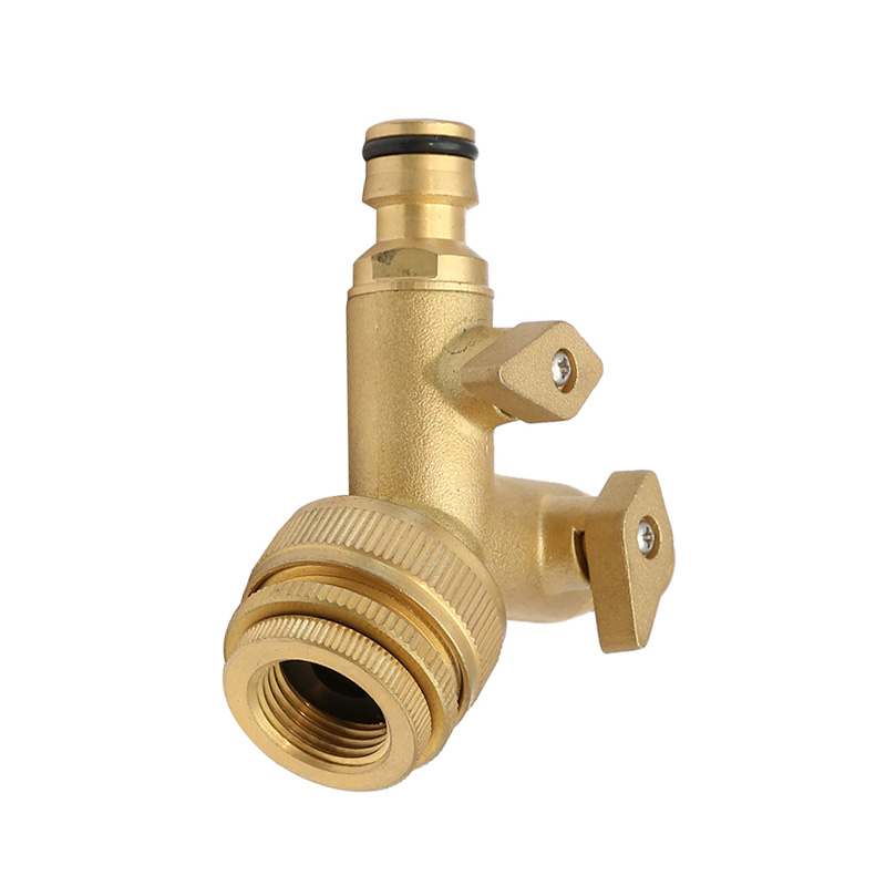 "Brass 2-way Snap-In Coupling with Shut-off Valve with 3/4""-1""and 1/2""-3/4""Brass Tap Adaptor"