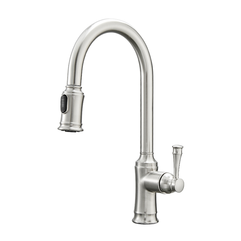 FLG Brushed Nickel Kitchen Faucet with Pull Out Sprayer, Single Handle, Single Hole, Pull Down Stainless Steel Kitchen Sink Faucet