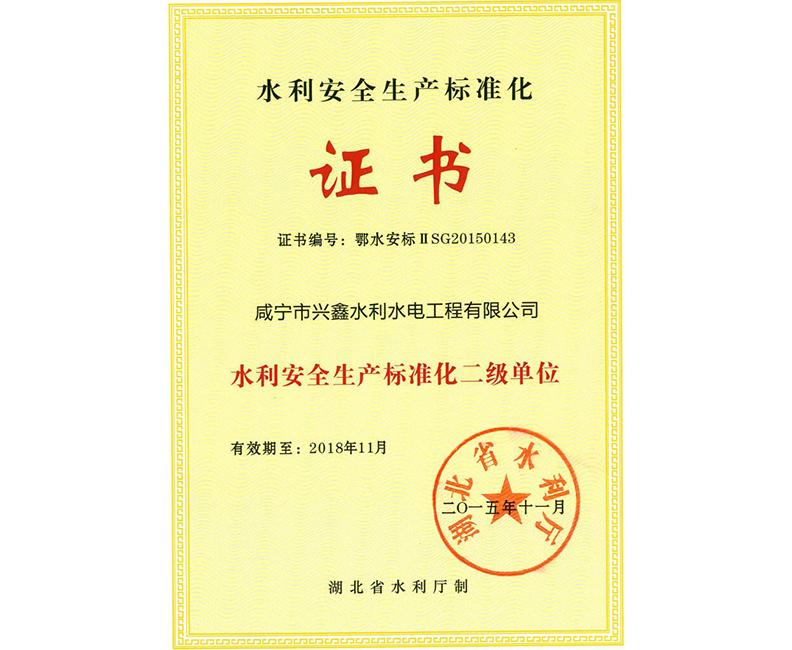 水利安全生产标准化证书