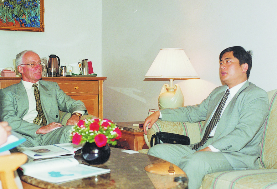 President Bin Chen in a meeting with the ambassador from New Zealand