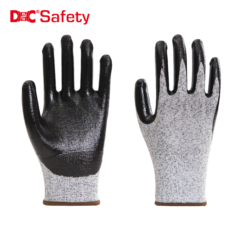 13 gauge anti-cut 3 liner black nitrile palm coating smooth finished working safety glove