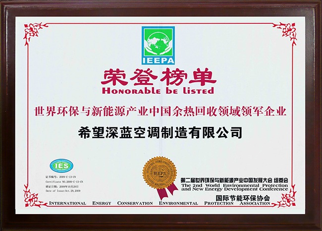 2009 World Environmental Protection and New Energy Industry Leading Enterprise in China