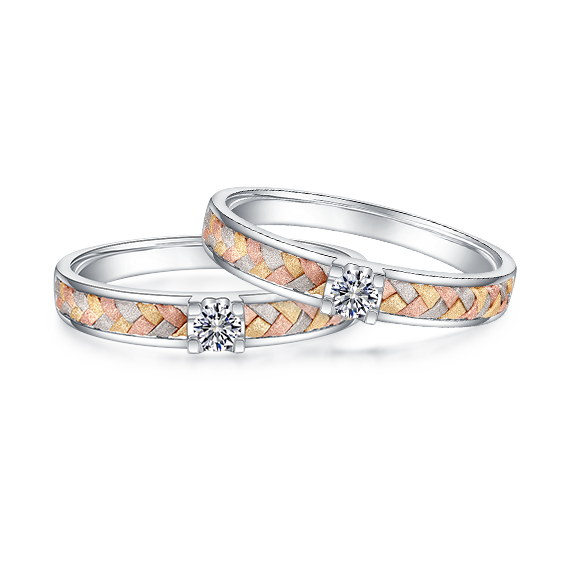 Three-color braided couple ring
