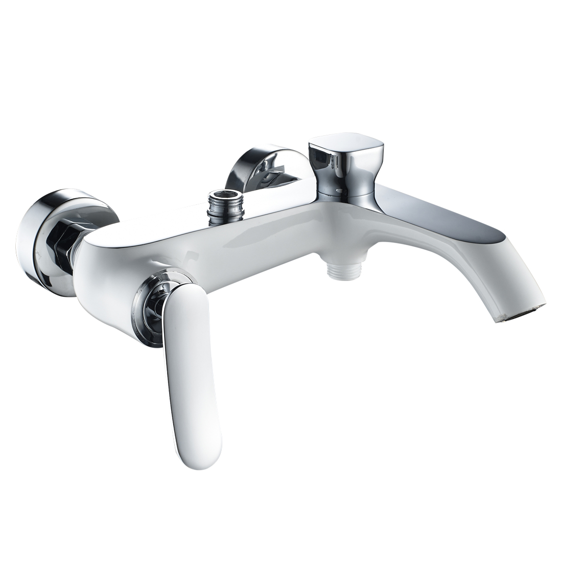 Shower Mixer Valve,Wall Mounted Single Lever Manual Exposed Shower Hot/Cold Valve Tap Faucet,Chrome with White Finish