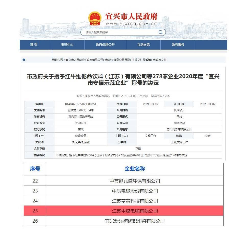 """公司喜获2020年度""""宜兴市守信示范企业"""""""