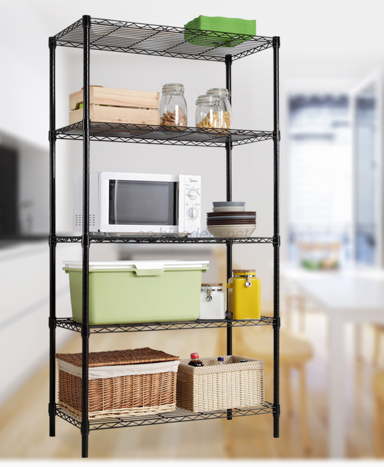 Black wire shelving storage rack