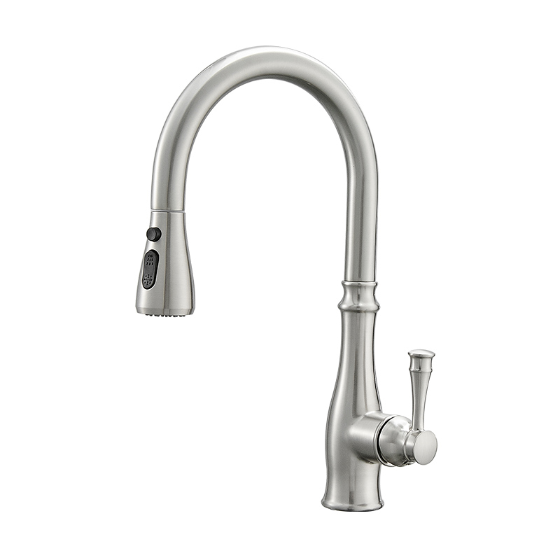 FLG Brushed Nickel Kitchen Faucet with Pull Out Sprayer, Single Handle, Single Hole, Pull Out Stainless Steel Kitchen Sink Faucet
