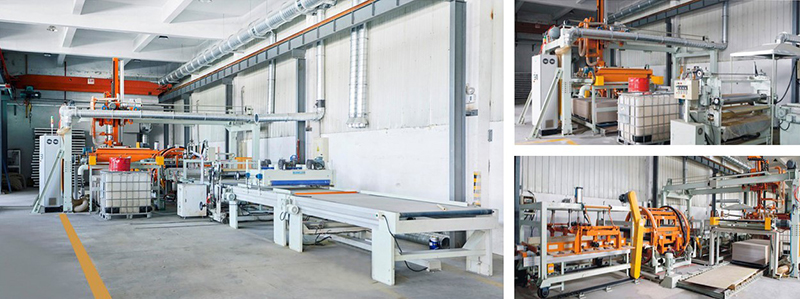 Fully automatic rock wool composite production line