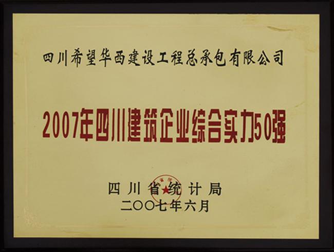 2007年四川建筑企业综合实力50强——四川爱游戏华西工程总承包有限公司