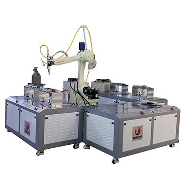 指紋鎖板面多工位機械手激光焊接機