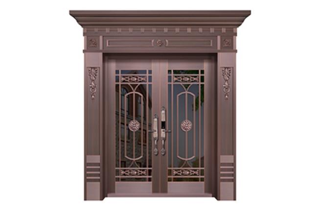 WF-19070 玻璃铜艺门
