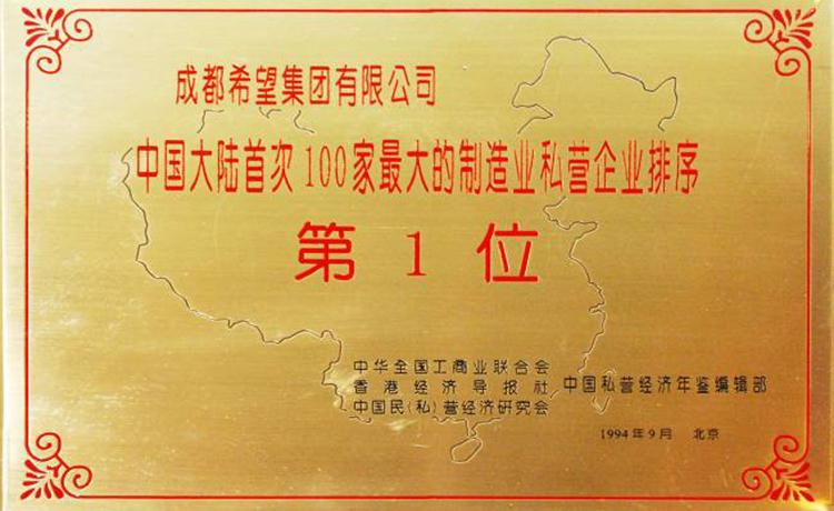 中国大陆首次100家最大的制造业私营企业排序第1位