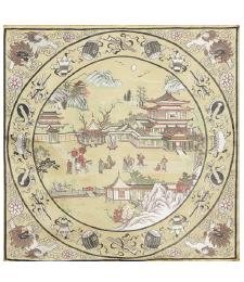 20-07雙面五彩織織錦景物46×46CM(米色)