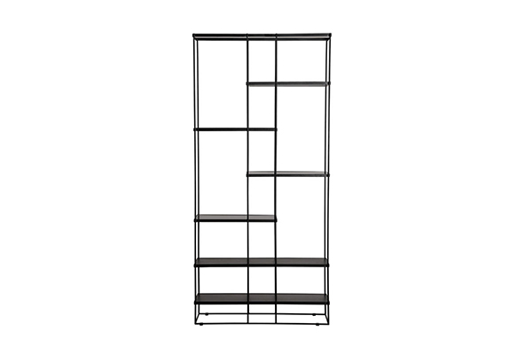 Modern Black wire metal frame MDF top bookcase L230A g