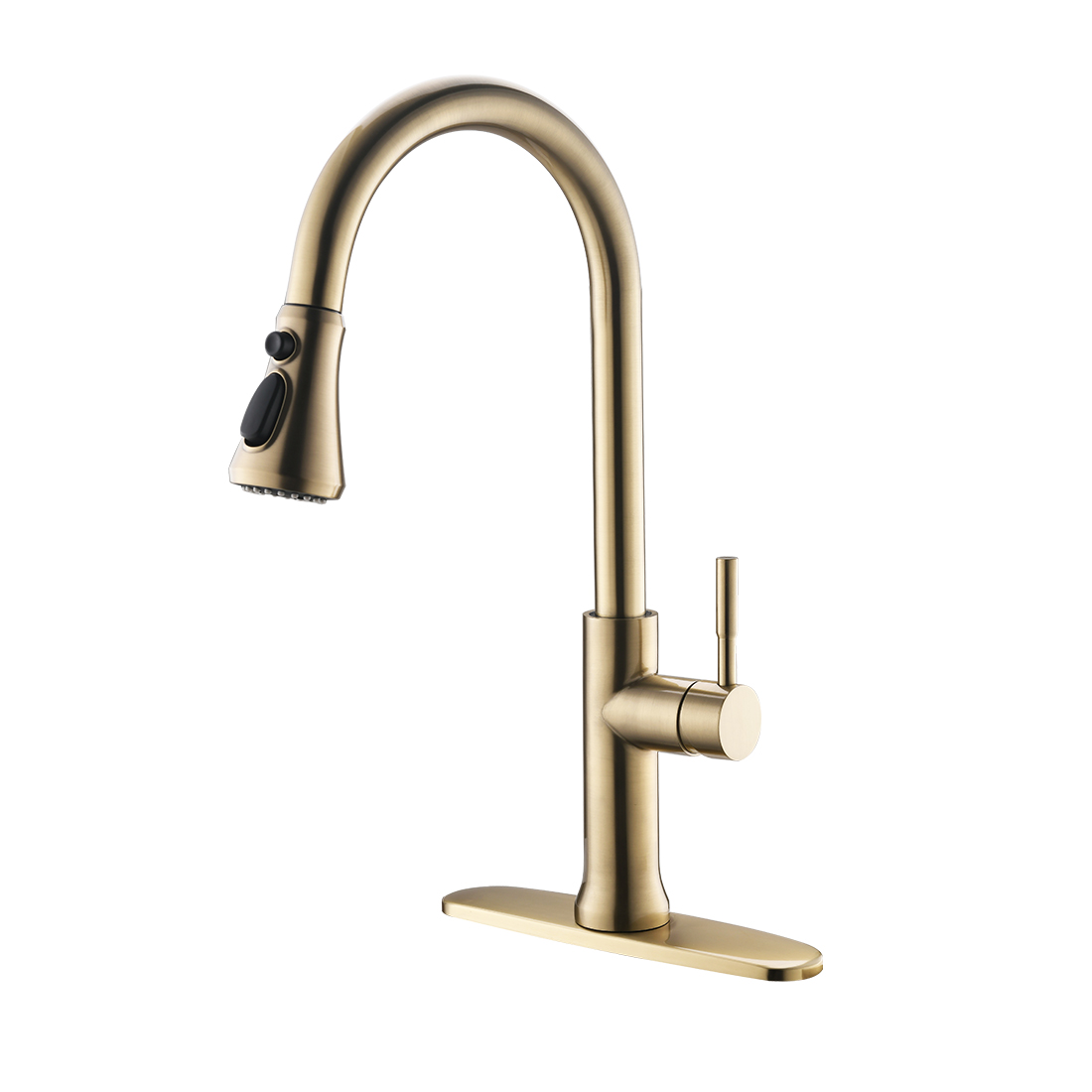 FLG Brushed Gold Stainless Steel One-Handle High Arc Pullout Touch on Kitchen Faucet