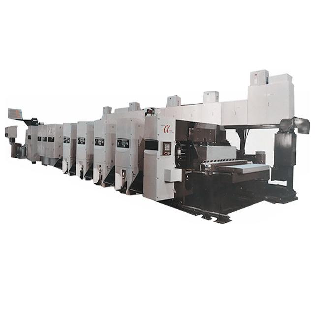 Sα-型固定式全伺服水性印刷開槽模切折疊糊箱聯動線