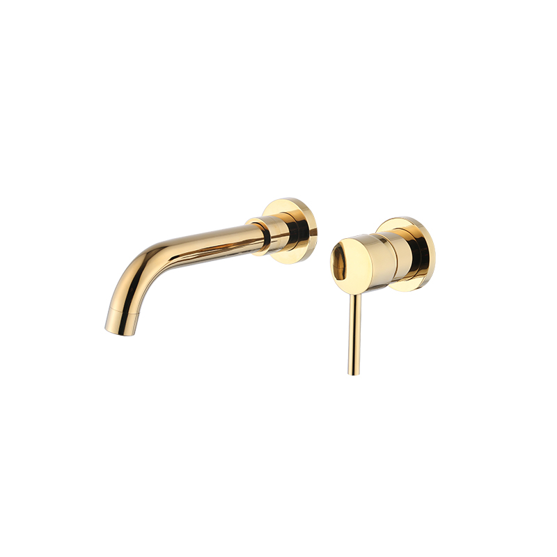 FLG Gold Brass Single Handle Wall Mount Bathroom Sink Faucet,