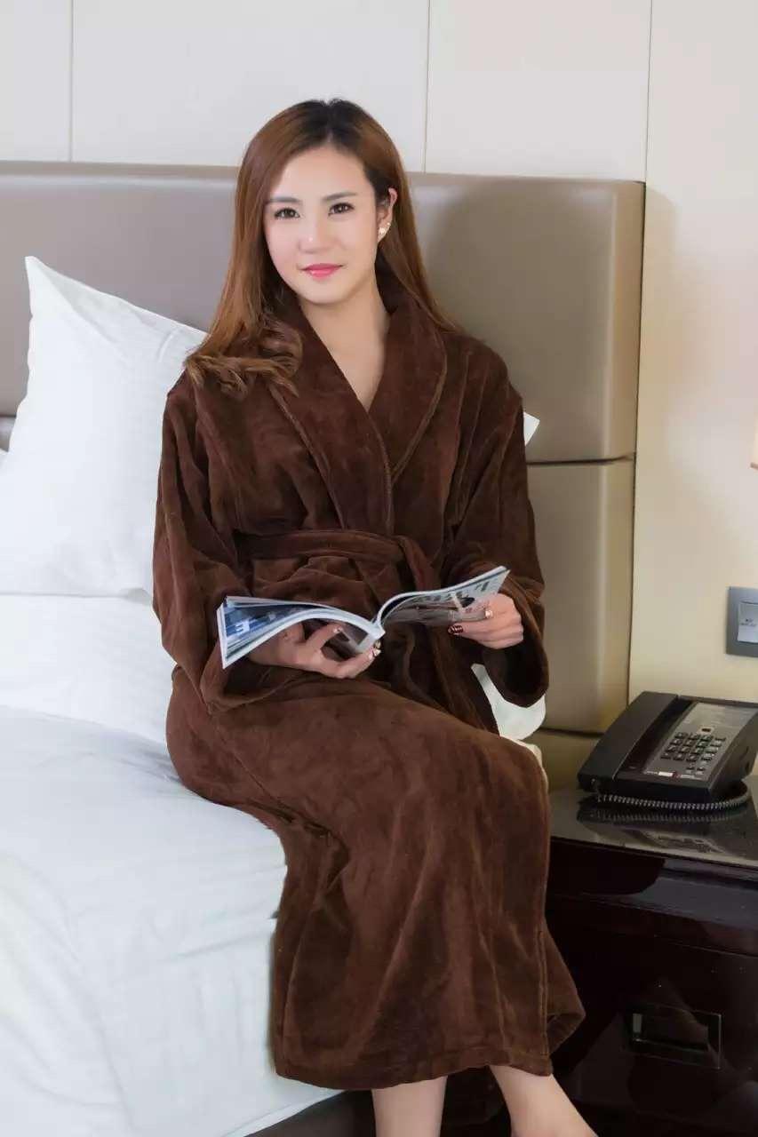 君芝友酒店用品珊瑚絨浴袍 外層珊瑚絨內層毛圈酒店用純色睡衣 五星級酒店全棉浴服