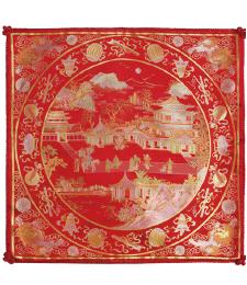 20-06雙面五彩織織錦景物46×46CM(紅)