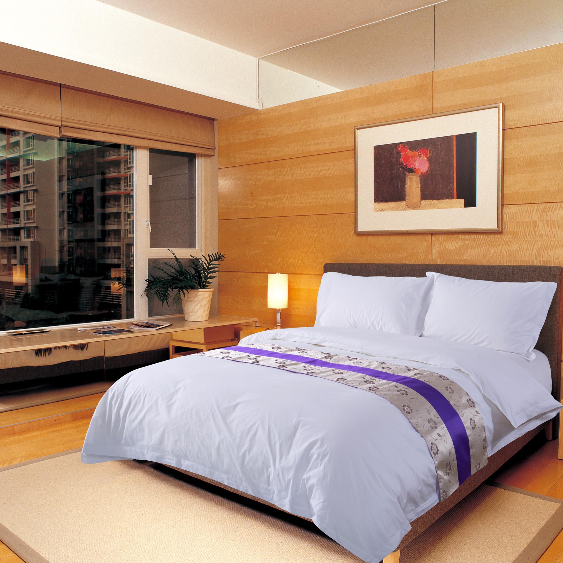 君芝友酒店用品賓館酒店床上用品四件套全棉純白色貢緞4件套床單被套床品JZY-0004