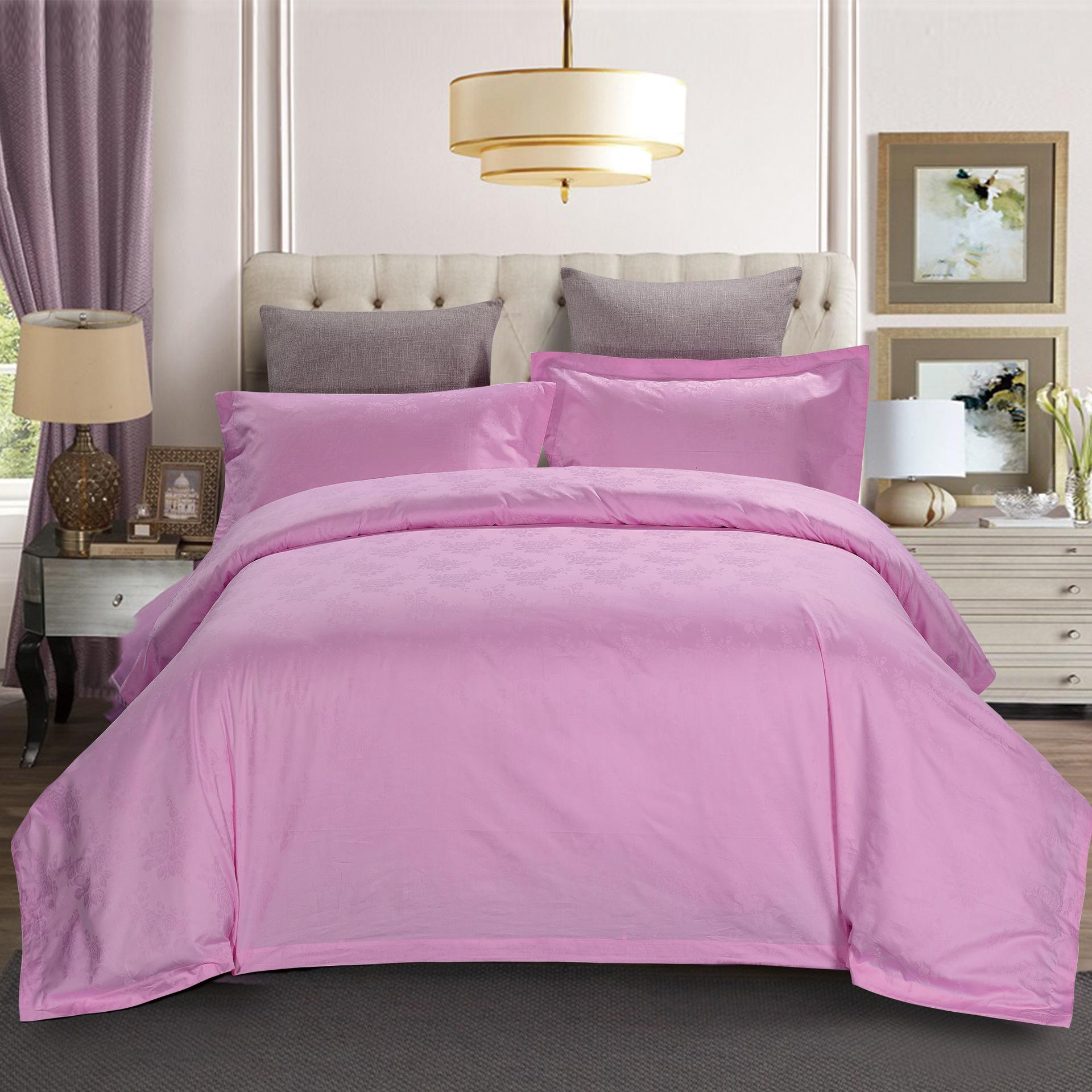 君芝友酒店用品賓館酒店床上用品四件套全棉純色貢緞4件套床單被套床品JZY-0007