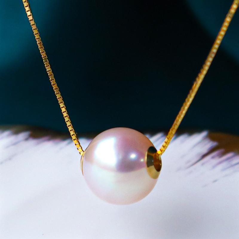 恒興珠寶 天然海水路路通日本akoya珍珠項鏈吊墜18K金單顆鎖骨女