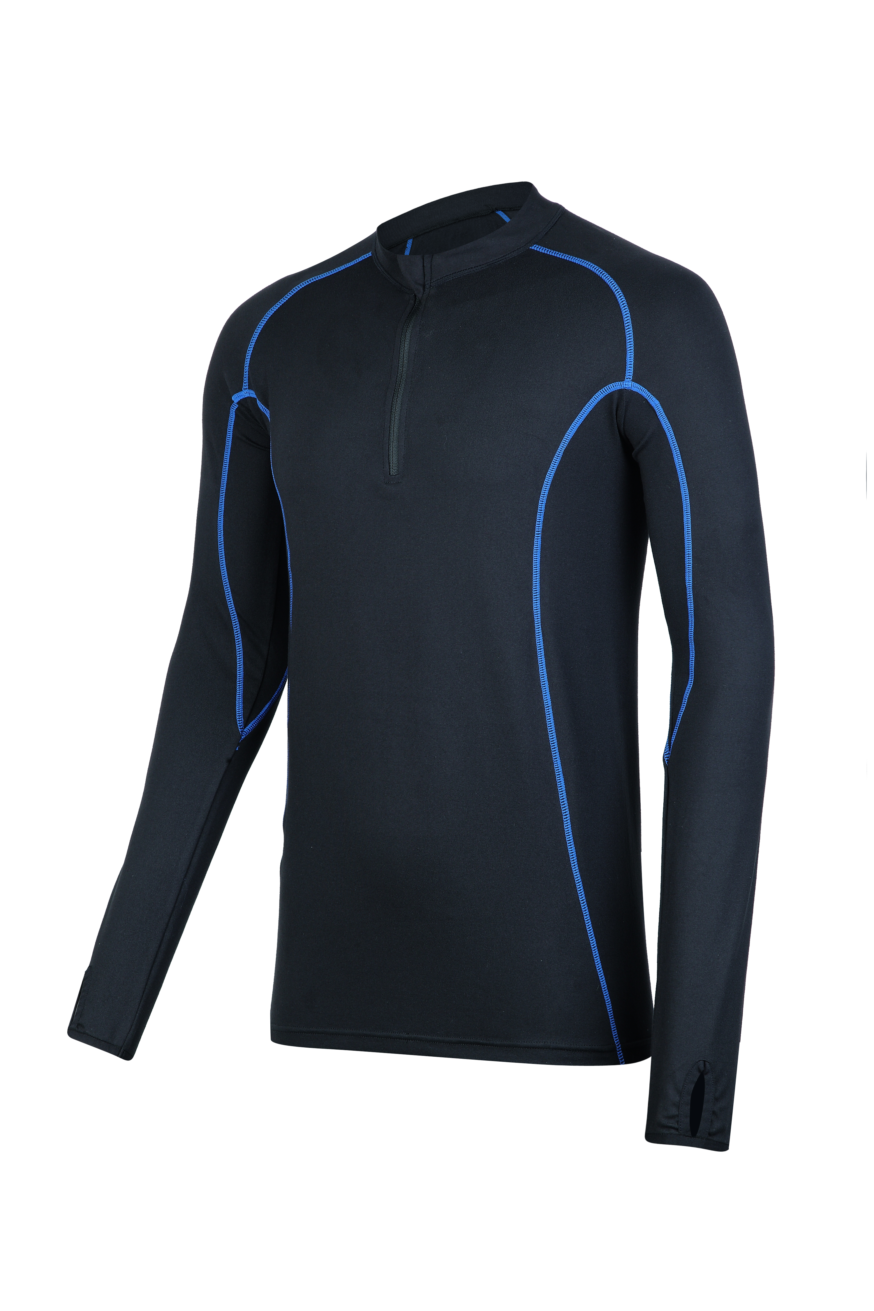 Men's knitted 1/4 zipper compression top.