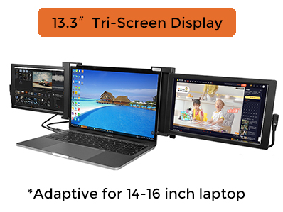 13.3 inch Tri screen Monitor IPS Panel Portable Monitor for Most Mainstream Laptops