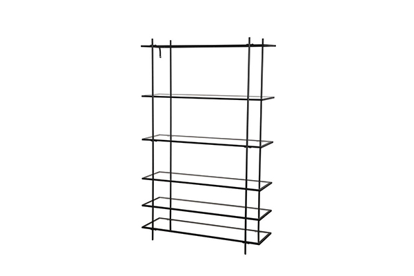 Modern Black wire metal frame clear glass bookcase s-1214k g