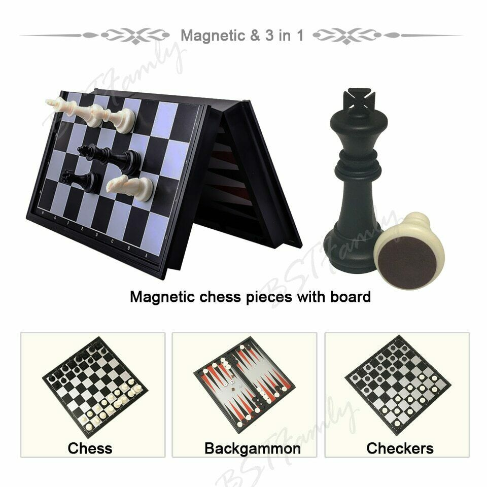 Folding chess set 3 in 13