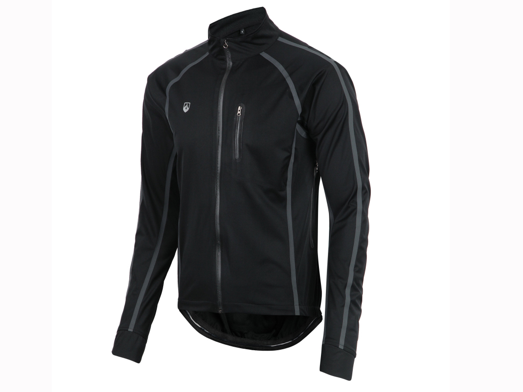 Men's woven bicycle long sleeve seamless tape zipper jacket.