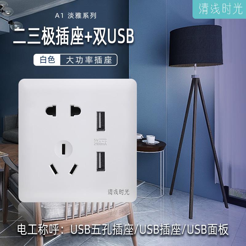 A1淡雅系列/白色/二三極插座+雙USB