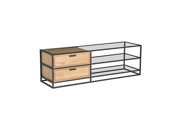 Simple Glass Metal Frame TV Cabinet With Drawer