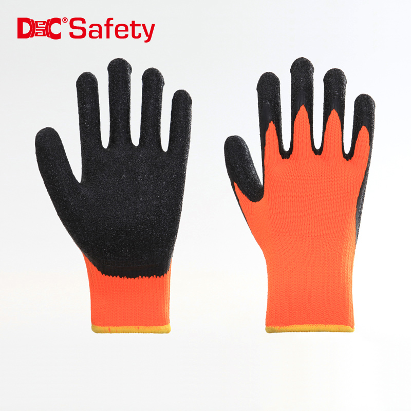 10 gauge  brushed terry loops polyester liner latex palm coating crinkle finished working gloves